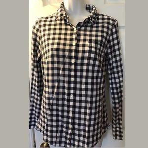 J.CREW Perfect Shirt Blue White Gingham Plaid Top